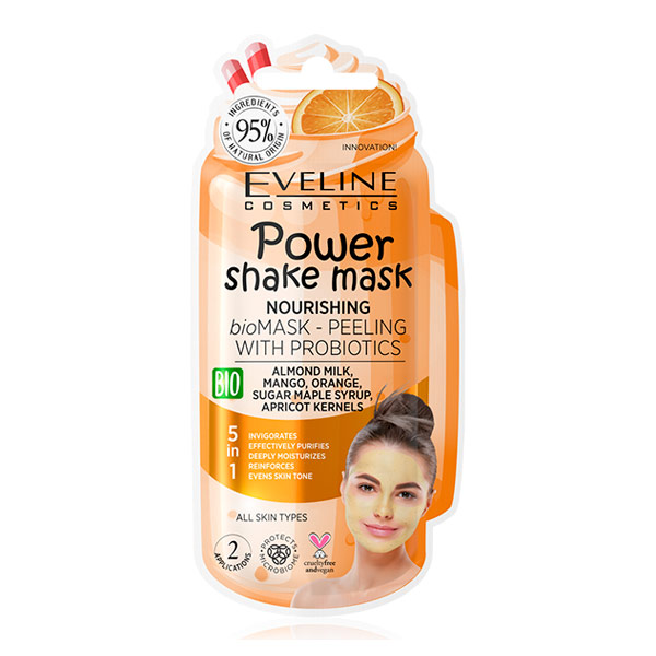 Питательная bio маска-пилинг с пробиотиками POWER SHAKE MASK EVELINE, 10 мл