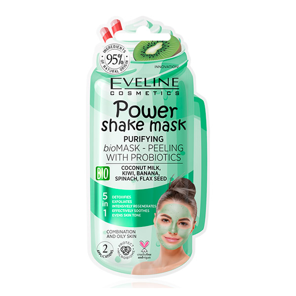 Очищающая bio маска-пилинг с пробиотиками POWER SHAKE MASK EVELINE, 10 мл