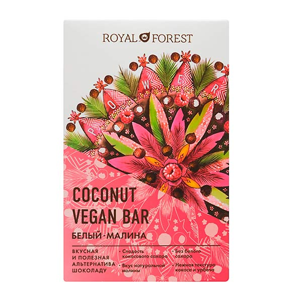 Шоколад белый Vegan Coconut Bar Малина Royal Forest, 50 г